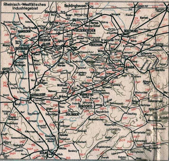 Karte Ruhrgebiet.Das Eisenbahnnetz Im Ruhrgebiet